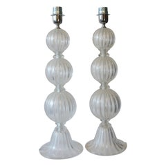 Alberto Donà Mid-Century Modern Crystal Two Murano Glass Table Lamps, 1990