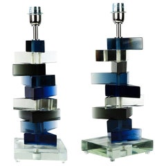 "Alberto Donà Mid-Century Modern ""Molato"" Two of Murano Glass Table Lamps, 1995"