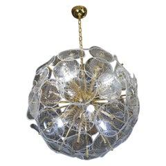 Alberto Donà Mid-Century Modern White Crystal Murano Glass Chandelier, 1990