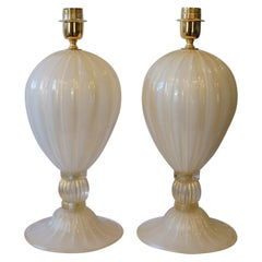 Alberto Donà Mid-Century Modern White Veronese Two Murano Glass Table Lamps 1985
