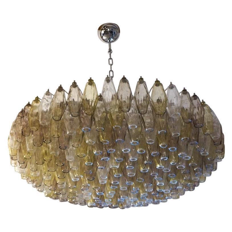 Alberto Donà Midcentury Amber Crystal Murano Glass Poliedri Chandelier, 1985