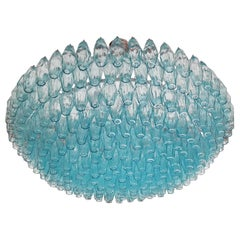 Alberto Donà Midcentury Light Blue Murano Glass Poliedri Chandelier, Italy, 1985