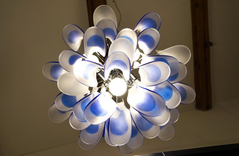 Alberto Donà Mid-Century Modern Crystal Murano Glass Selle Chandelier, 1992s For Sale 6