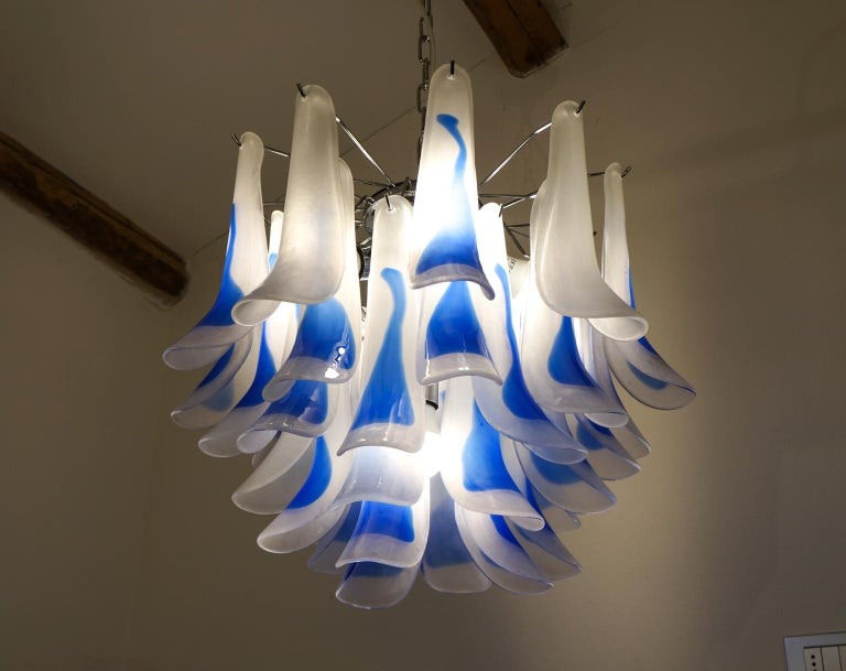 Hand-Crafted Alberto Donà Mid-Century Modern Crystal Murano Glass Selle Chandelier, 1992s For Sale
