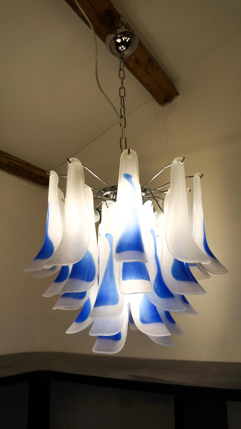 Late 20th Century Alberto Donà Mid-Century Modern Crystal Murano Glass Selle Chandelier, 1992s For Sale