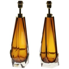 Alberto Donà, Pair of Table Lamps, Faceted Shape, Topaz Murano Massiccio Body