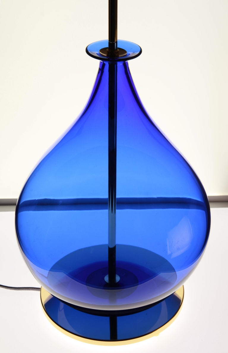 Alberto Donà, Pair of Table Lamps, Gourd Shape, Murano Deep Cobalt Blue For Sale 3