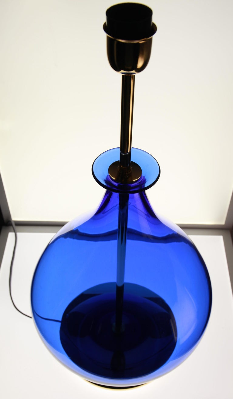 Alberto Donà, Pair of Table Lamps, Gourd Shape, Murano Deep Cobalt Blue For Sale 4