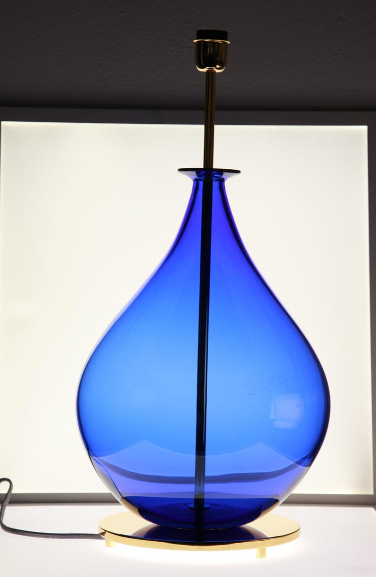 Alberto Donà, Pair of Table Lamps, Gourd Shape, Murano Deep Cobalt Blue For Sale 5