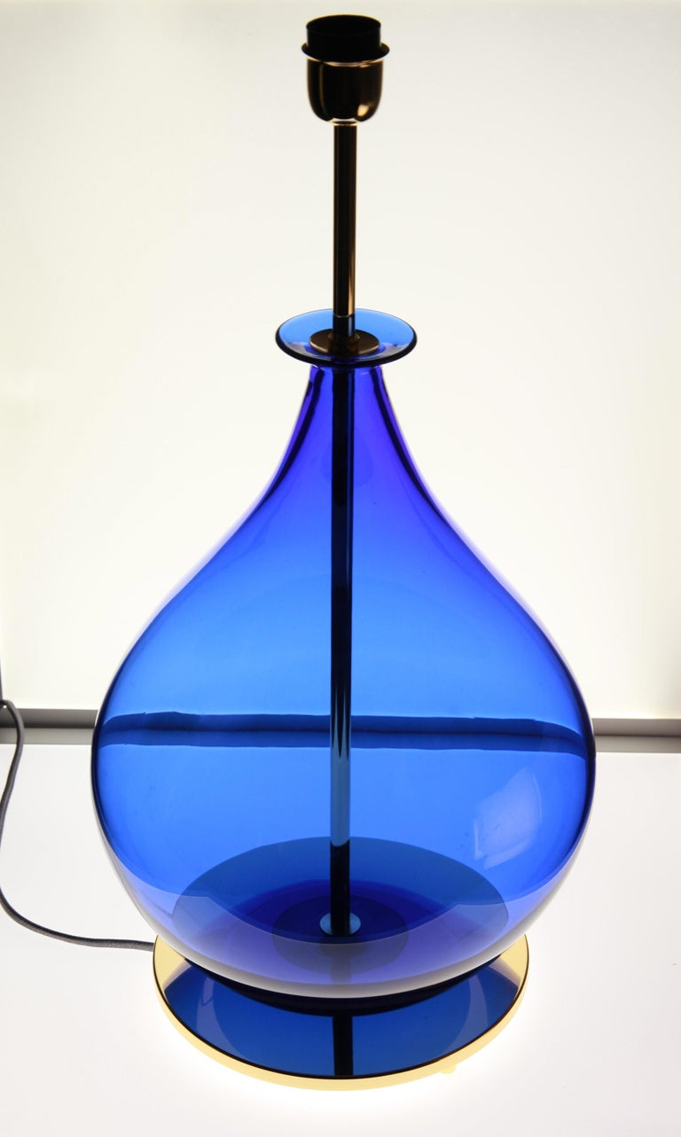 Alberto Donà, Pair of Table Lamps, Gourd Shape, Murano Deep Cobalt Blue For Sale 6