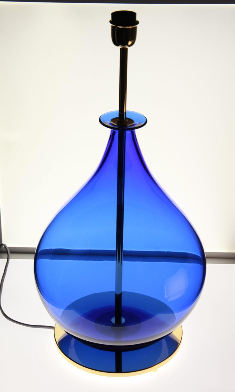 Alberto Donà, Pair of Table Lamps, Gourd Shape, Murano Deep Cobalt Blue For Sale 7