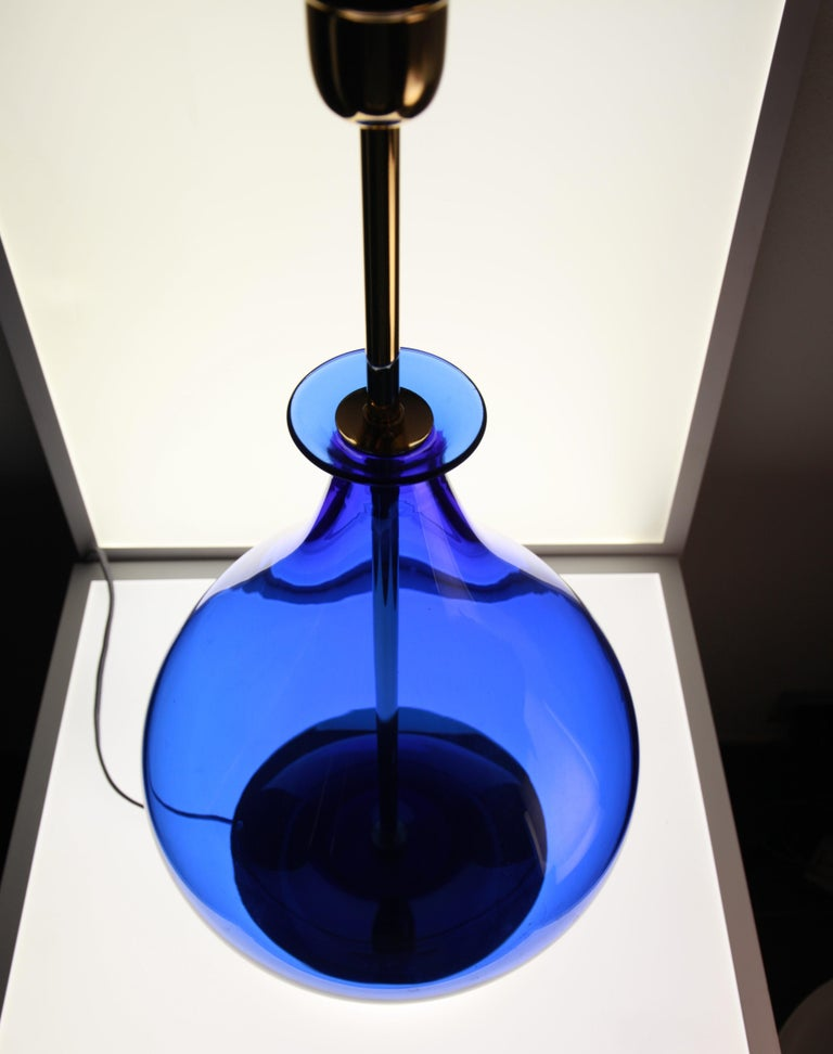 Mid-Century Modern Alberto Donà, Pair of Table Lamps, Gourd Shape, Murano Deep Cobalt Blue For Sale