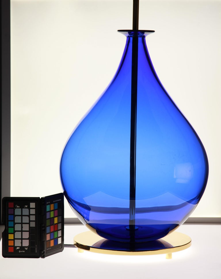 Alberto Donà, Pair of Table Lamps, Gourd Shape, Murano Deep Cobalt Blue In Good Condition For Sale In Tavarnelle val di Pesa, Florence