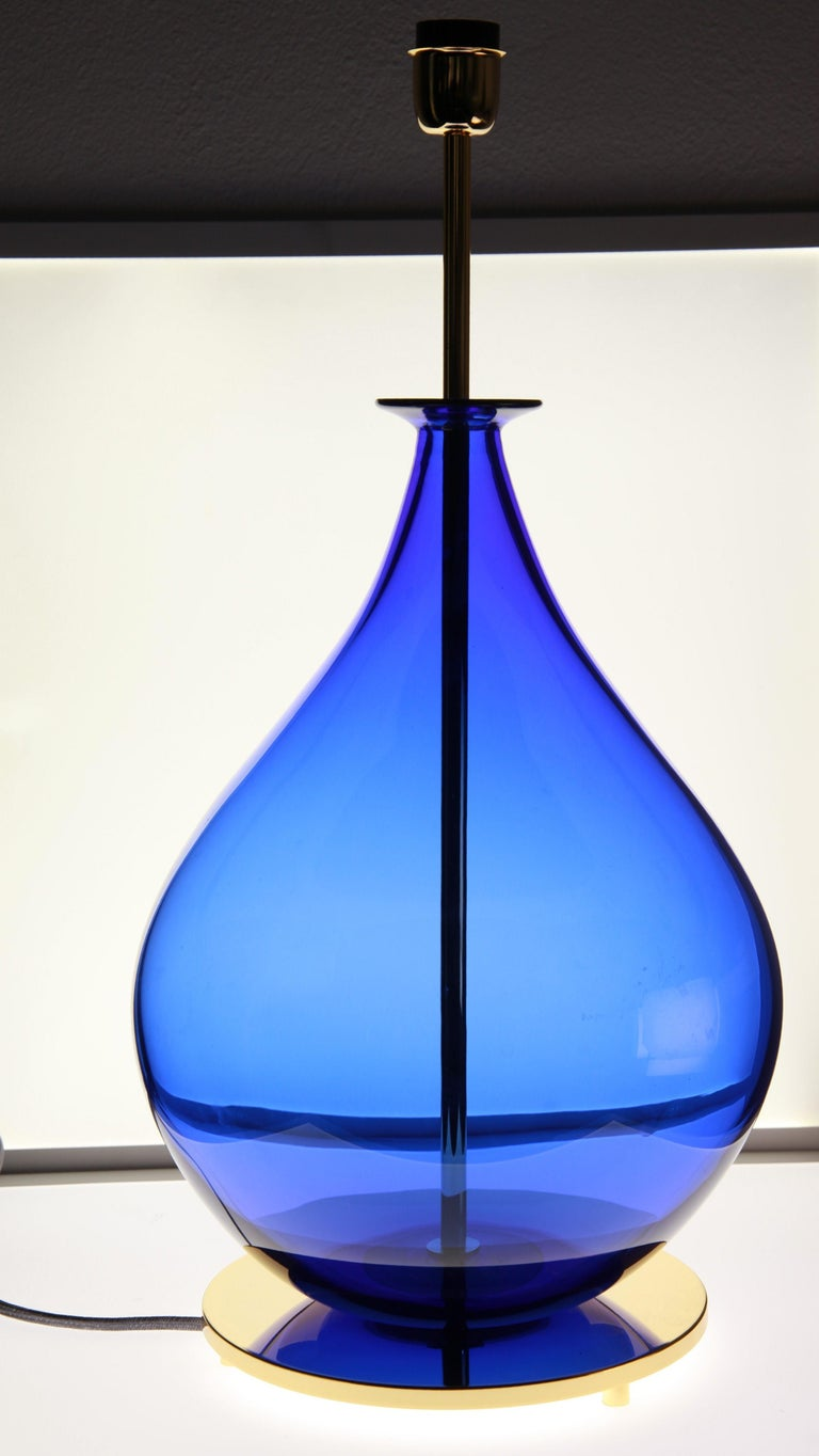 Alberto Donà, Pair of Table Lamps, Gourd Shape, Murano Deep Cobalt Blue For Sale 1