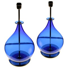 Alberto Donà, Pair of Table Lamps, Gourd Shape, Murano Deep Cobalt Blue