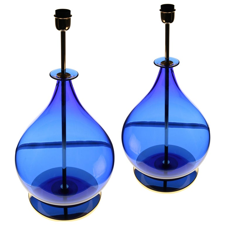 Alberto Donà, Pair of Table Lamps, Gourd Shape, Murano Deep Cobalt Blue For Sale