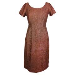 Alberto Fabiani by Puritan Brown Lace Vintage Evening Sheath Dress