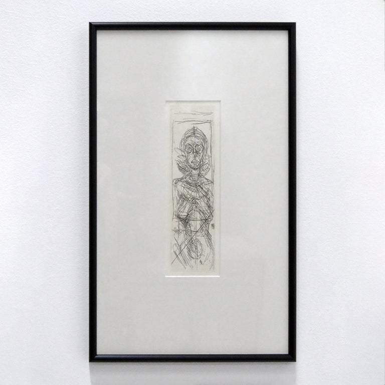 Wonderful etching 'Annette De Face' by Alberto Giacometti in 1955, original black and white etching, framed with matte behind glass.