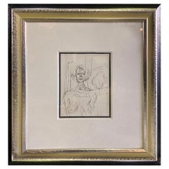 "Alberto Giacometti Framed Black and White Limited Lithograph ""Annette"", 1964"