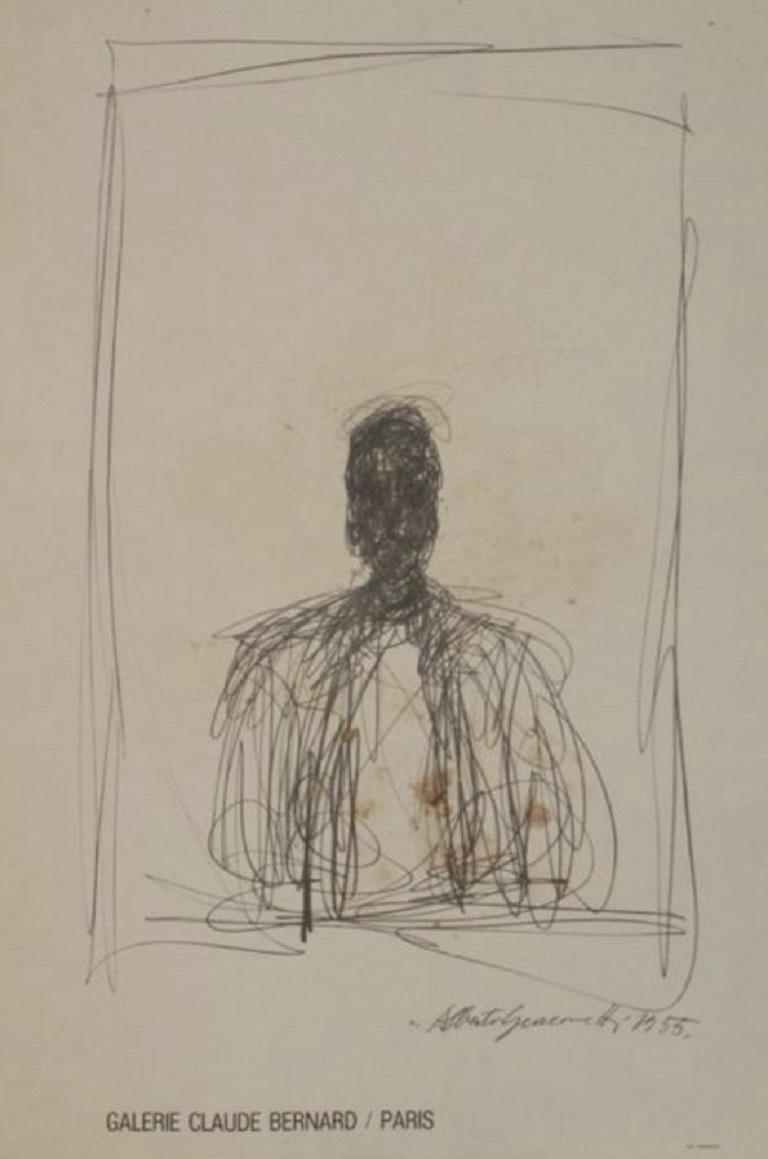 Alberto Giacometti Galerie Claude Bernard Original Vintage Poster In Good Condition For Sale In Melbourne, Victoria