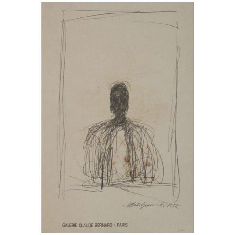 Alberto Giacometti Galerie Claude Bernard Original Vintage Poster For Sale