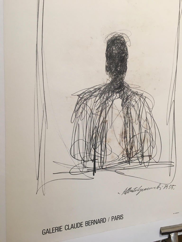 International Style Alberto Giacometti Original Galley and Exhibition Poster, Galerie Claude Bernard For Sale