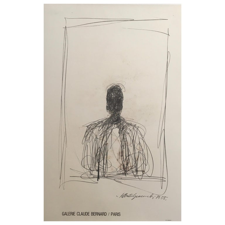 Alberto Giacometti Original Galley and Exhibition Poster, Galerie Claude Bernard For Sale