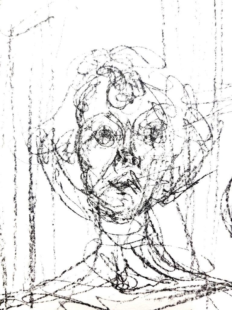 Alberto Giacometti - Composition - Original Lithograph - White Abstract Print by Alberto Giacometti