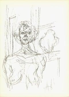 """Alberto Giacometti-Annette (Lg)-11.5"""" x 8.25""""-Lithograph-1964-Modernism-Brown"""