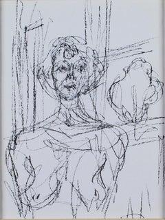 """""""Annette,"""" Original Black and White Lithograph Portrait by Alberto Giacometti"""
