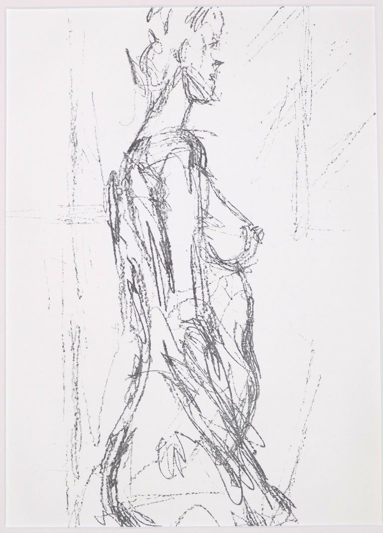 Annette Standing is an original Contemporary Artwork realized by Alberto Giacometti (After) (Borgonovo, 1901 — Chur, 966) in 1961.  Original Lithograph, unsigned, issued by Derrière le Miroir no.127.  Published by Galerie Maeght, Paris.  Ref. Lust