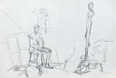 Seated Man and Sculptures - Original Lithograph #Lust150