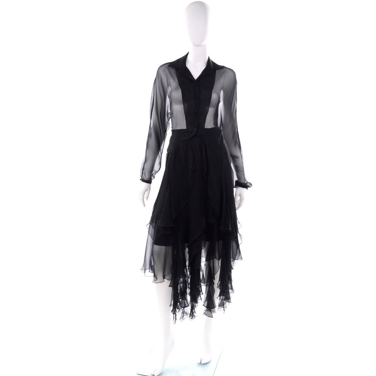 This vintage Alberto Makali 2 piece black dress includes a sheer top and a panel