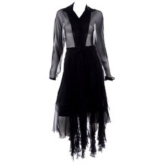Alberto Makali Vintage Sheer Black 2 Pc Evening Dress w Panel Fringe Hem
