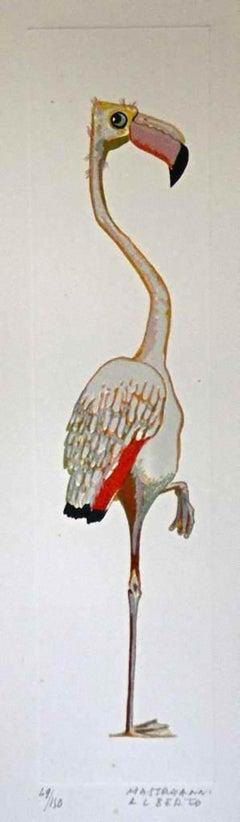 Flamingo - Original Lithograph by Alberto Mastroianni - 1970s