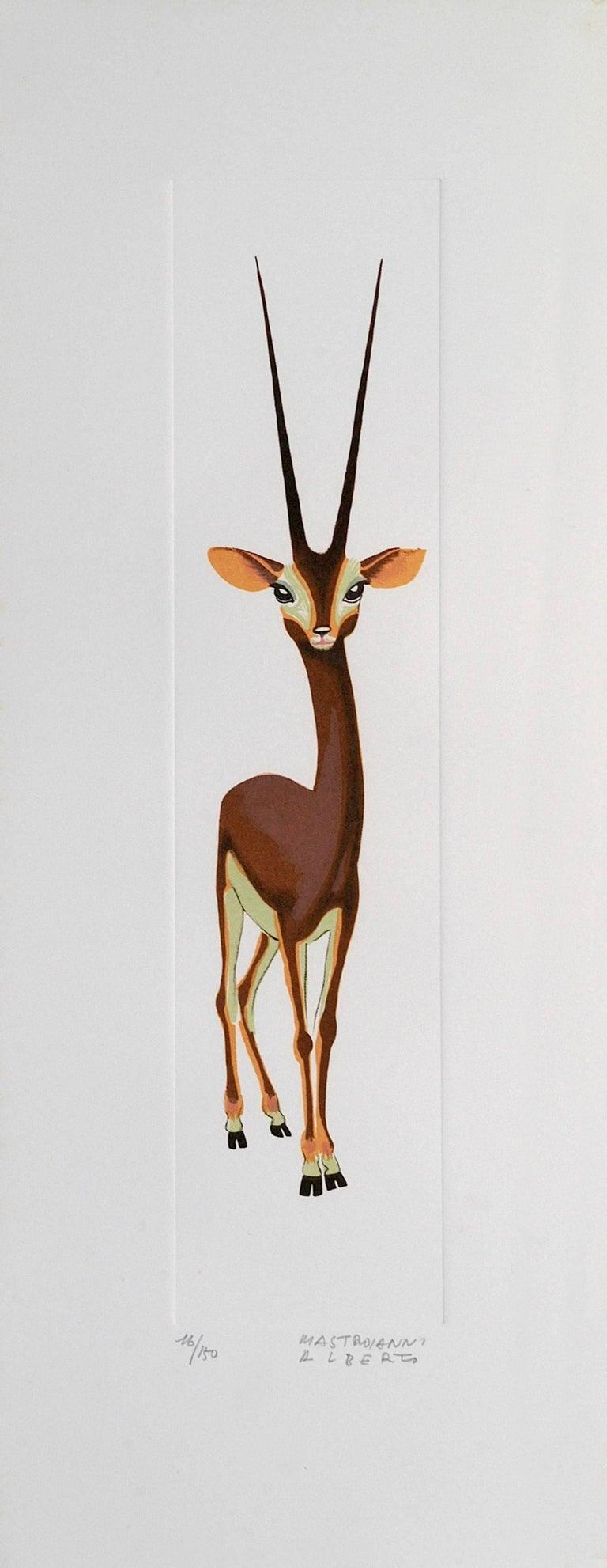 Alberto Mastroianni Animal Print - Gazelle - Original Lithograph by A. Mastroianni - 1970s