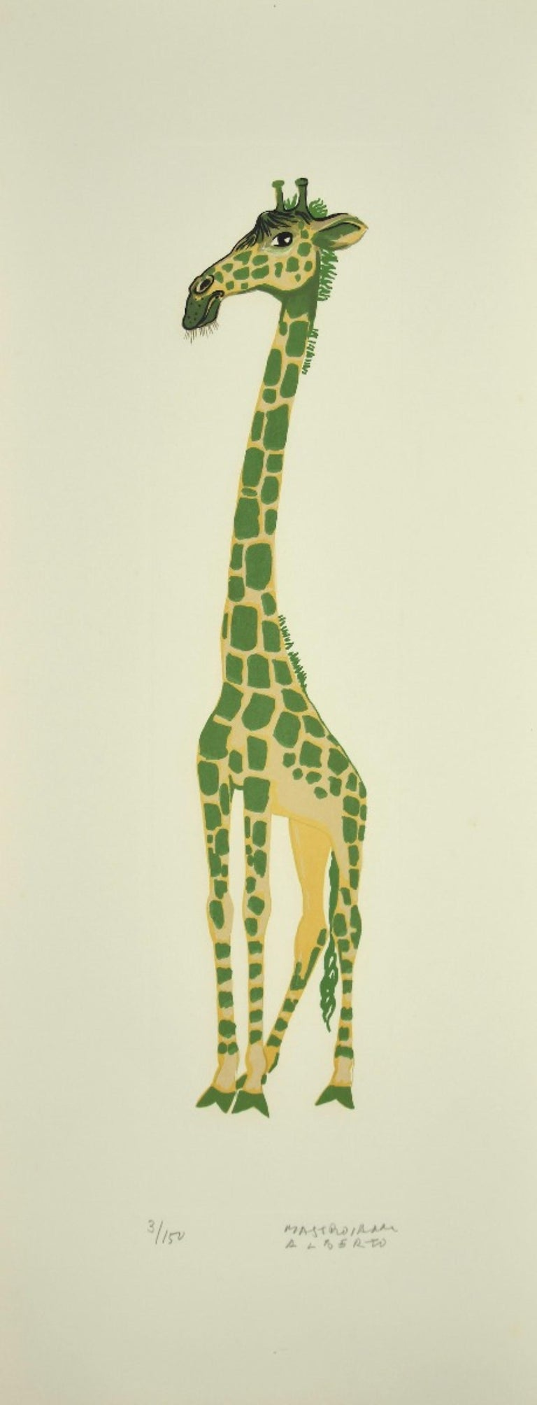 Girafe is an original lithograph realized by Alberto Mastroianni in the 1970s.  Hand Signed on the lower right margin.  Numbered on the lower in pencil. Edition 3/150.  Good conditions, except for some folding along the margins.  The artwork