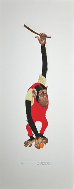Monkey - Original Lithograph by Alberto Mastroianni - 1970 ca.