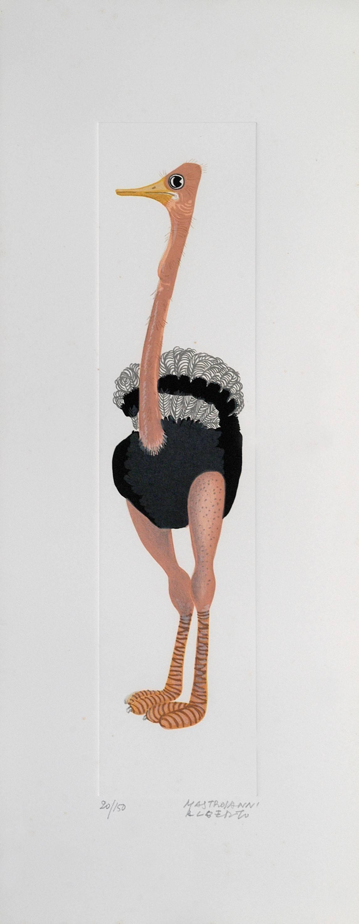Ostrich - Original Lithograph by A. Mastroianni - 1970s