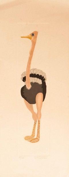 Ostrich - Original Lithograph by Alberto Mastroianni - 1970 ca