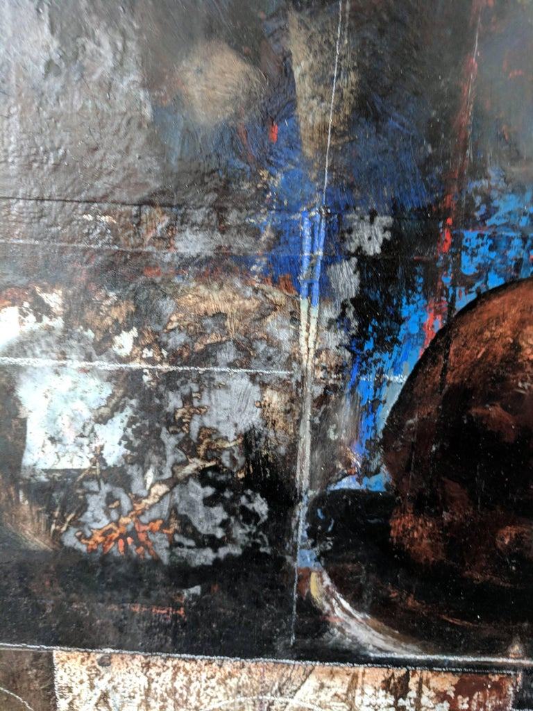 This mixed-media painting is complex and richly textured. As part of the Sages series, this painting features a Sage in the middle of the pictorial space. The rest of the space portrays different dark and luminescent images. The artist marks many of