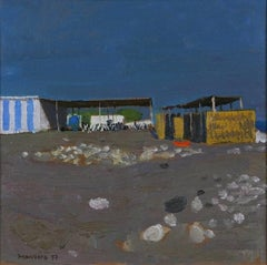 Open Air Cafe, A Beach Landscape by Alberto Morrocco Modern 20th Century