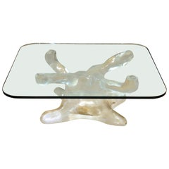 Alberto Rocchi Italian Modern Biomorphic Glass Coffee Table with Acrylic Base