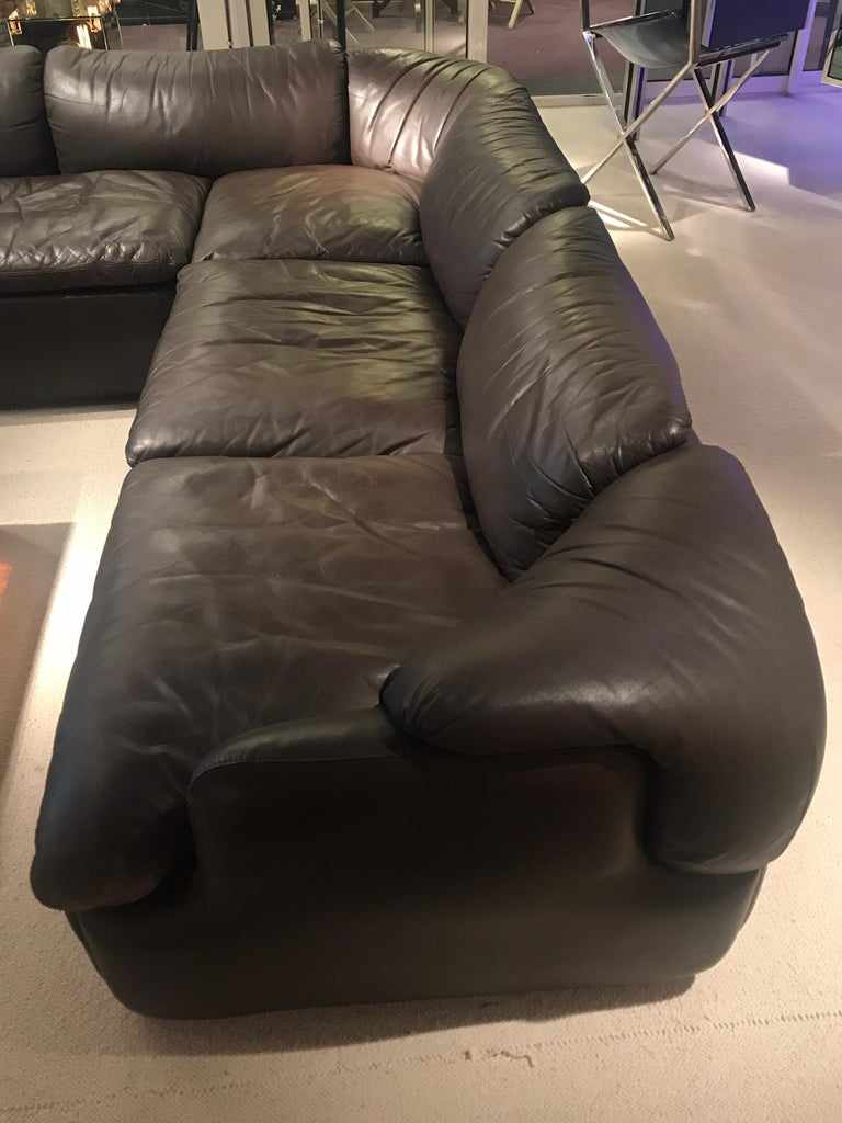 Alberto Roselli Leather Modular Sofa For Sale 6