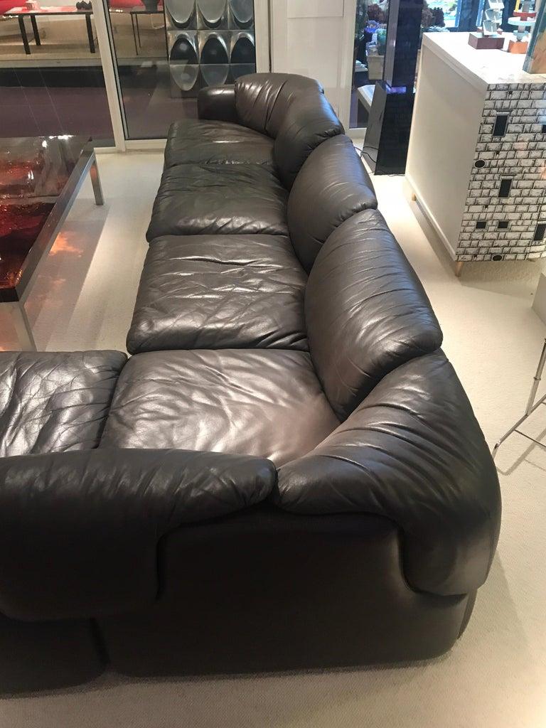 Alberto Roselli Leather Modular Sofa For Sale 9