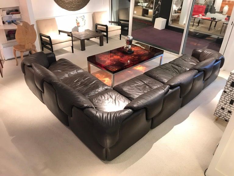 Mid-Century Modern Alberto Roselli Leather Modular Sofa For Sale