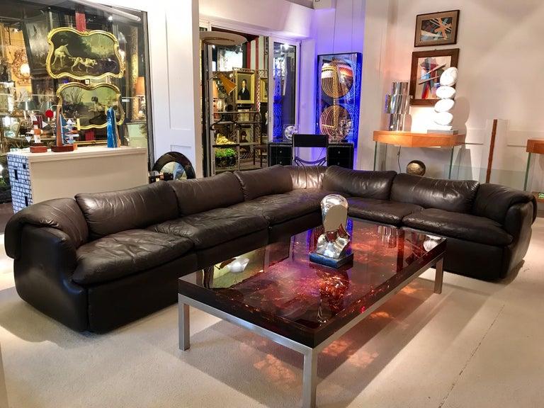 Italian Alberto Roselli Leather Modular Sofa For Sale
