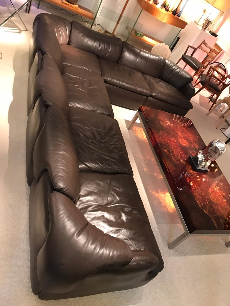 Alberto Roselli Leather Modular Sofa In Good Condition For Sale In Saint-Ouen, FR