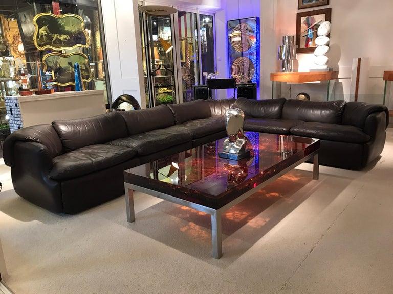 Late 20th Century Alberto Roselli Leather Modular Sofa For Sale