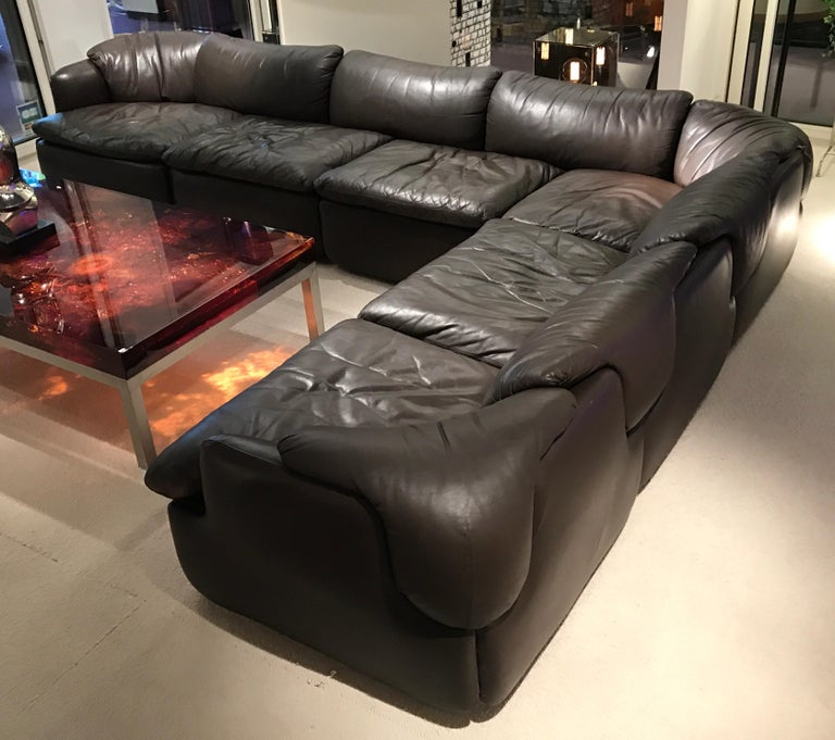 Alberto Roselli Leather Modular Sofa For Sale 1